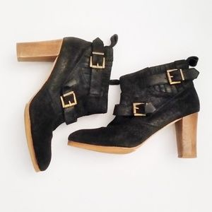Vanessa Bruno Shoe Black Suede Leather Ankle Boot
